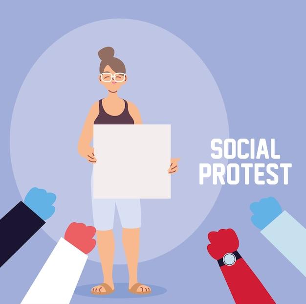 Kobieta w społecznym proteście z banerem
