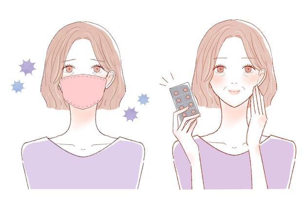 Kobieta w średnim wieku z przeziębieniem, koroną i grypą. przed i po.na białym tle.