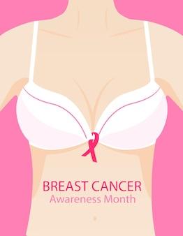 Kobieta w staniku z różową wstążką. krajowa koncepcja miesiąca świadomości raka piersi.