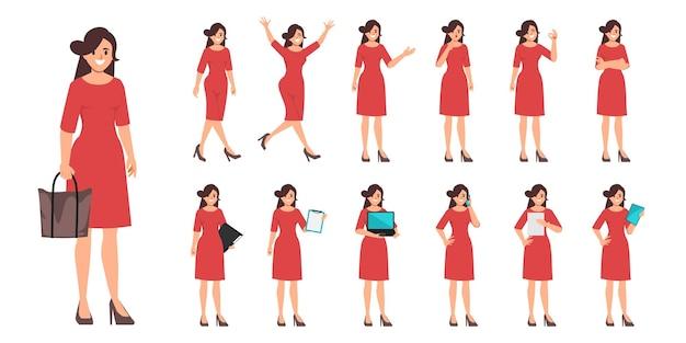Kobieta w stroju ubrania z rutynowej pracy poza charakter
