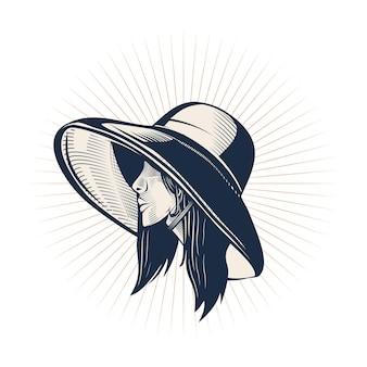 Kobieta w stylu vintage z szablonem logo kapelusza