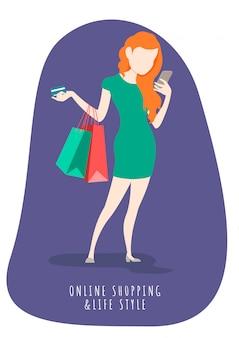 Kobieta w stylu życia na zakupy online z telefonu komórkowego. zakupy online i marketing.