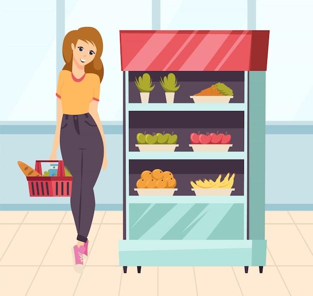 Kobieta w supermarkecie patrzeje warzywa wektorowych