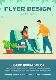 Kobieta w szaliku przeziębiona i chora na grypę. mężczyzna opiekuje się chorą dziewczyną, podaje jej termometr. ilustracja wektorowa infekcji, opieki zdrowotnej, szablonu ulotki choroby