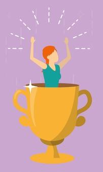 Kobieta w trofeum, zwycięska kobieta biznesu