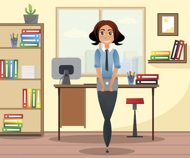 Kobieta w ubrania biznesowe z laptopem w ręce.