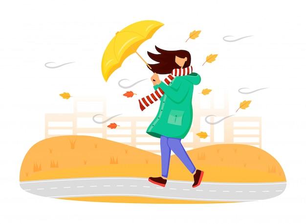 Kobieta w zielonym płaszczu przeciwdeszczowym w kolorze twarzy. jesienna przyroda. wietrzna pogoda. kobieta z parasolem. chodząca caucasian dama w szaliku odizolowywał kreskówki ilustrację na białym tle