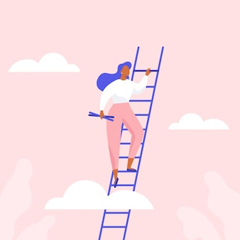 Kobieta wchodząca po schodach. rozwój zawodowy, osiągnięcie sukcesu w biznesie lub nauce. płaska ilustracja.