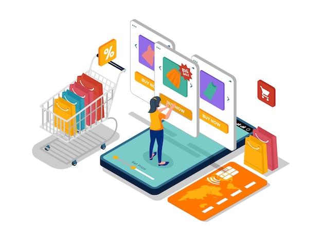 Kobieta wcisnąć przycisk kup w sklepie internetowym w telefonie komórkowym. izometryczny szablon ilustracji e-commerce z charakterem.