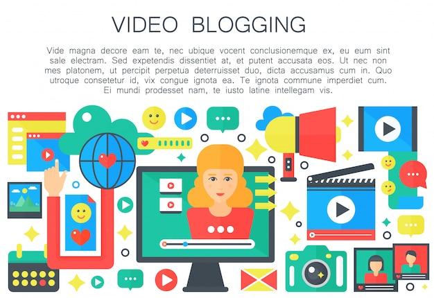 Kobieta wideo blogger płaski koncepcja