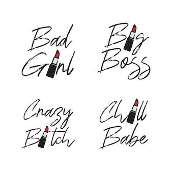 Kobieta wielki szef i zła dziewczyna typograficzna sztuka słowna z czerwoną szminką szczegółowo darmowe ilustracje wektorowe