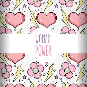 Kobieta władzy ślicznych kreskówek deseniowy tło