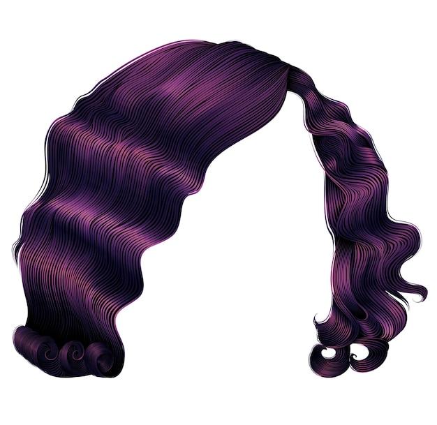 Kobieta włosy w ciemnych fioletowych kolorach. moda uroda w stylu retro. realistyczny 3d.