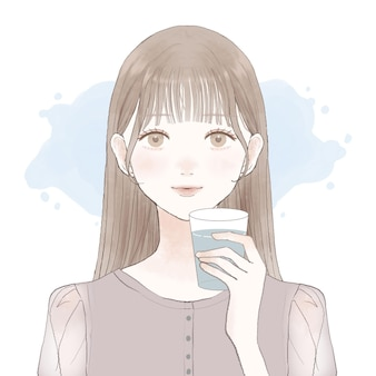 Kobieta wody pitnej. na białym tle.