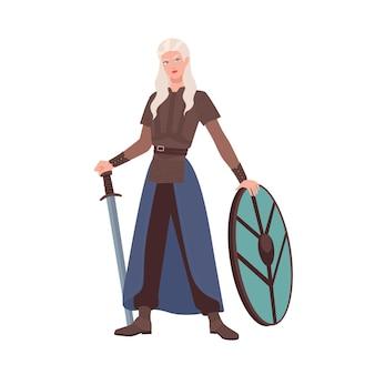 Kobieta wojownik lub średniowieczny rycerz trzyma miecz i tarczę na białym tle