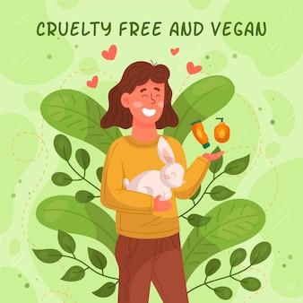 Kobieta wolna od okrucieństwa wobec zwierząt trzymająca króliczki