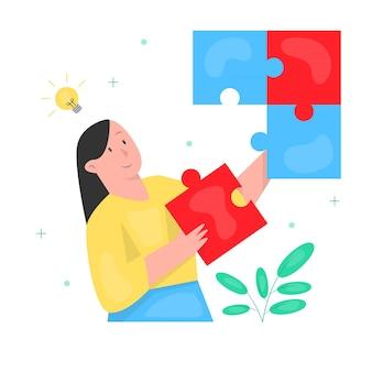 Kobieta wprowadzenie puzzli