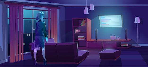 Kobieta wraca do domu z pracy i ogląda telewizję w nocy