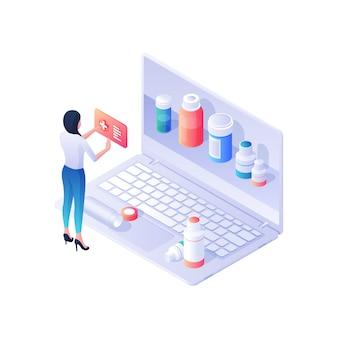 Kobieta wybiera leki w ilustracji izometrycznej apteki internetowej. postać kobieca czyta internetowe instrukcje narkotyków, prezentuje prezentowane na stronie opakowania. zakłócona koncepcja usług farmaceutycznych.