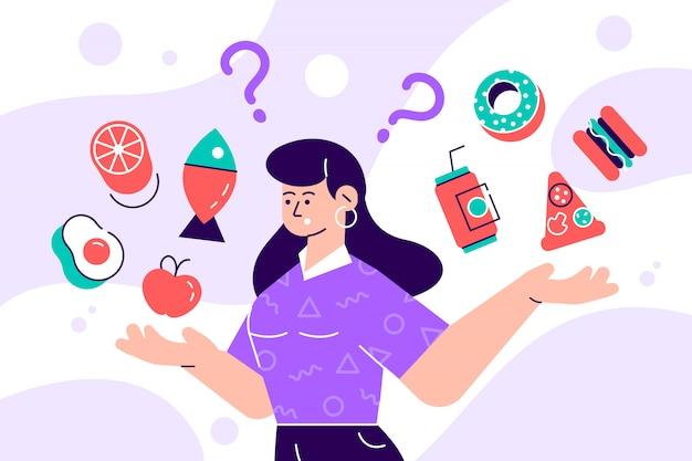 Kobieta wybiera między zdrową i niezdrową karmową pojęcie mieszkania ilustracją fastfood vs zrównoważony menu porównanie odizolowywał clipart. postać z kreskówki stylu płaskie kobiece diety i zdrowe odżywianie