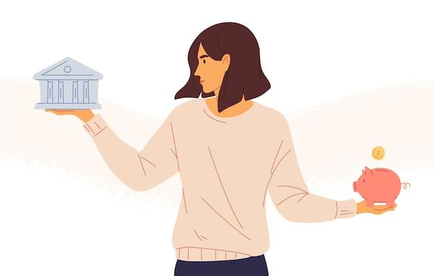 Kobieta wybierająca między bankiem a skarbonką płaską ilustracją wektorową