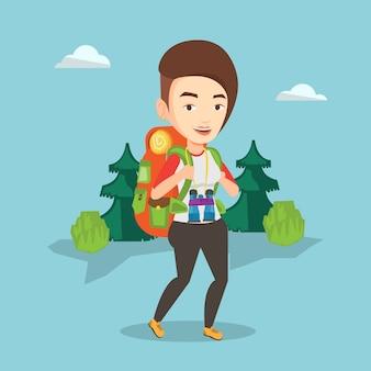 Kobieta wycieczkuje ilustrację z plecakiem.