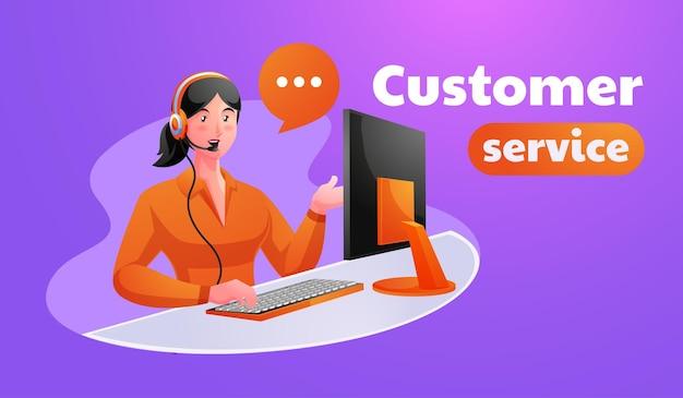 Kobieta wykonawczy obsługi klienta pracuje w biurze