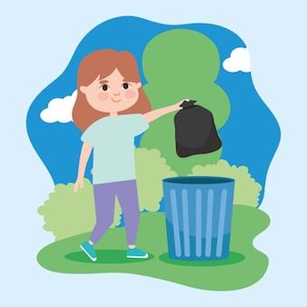 Kobieta wynosząca śmieci do kosza