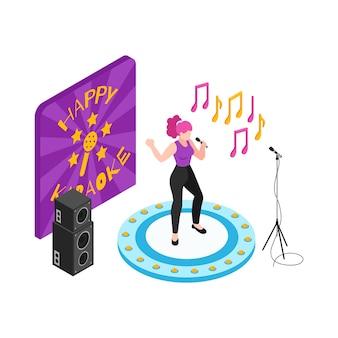 Kobieta występująca na scenie w klubie karaoke 3d izometryczny