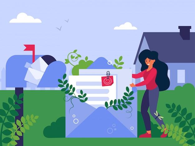 Kobieta wysyłanie cv za pośrednictwem poczty