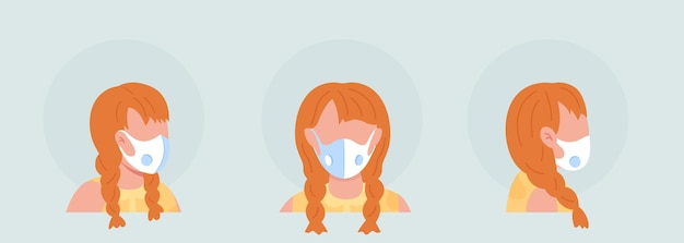 Kobieta z białym półpłaskim respiratorem, awatar postaci z zestawem masek