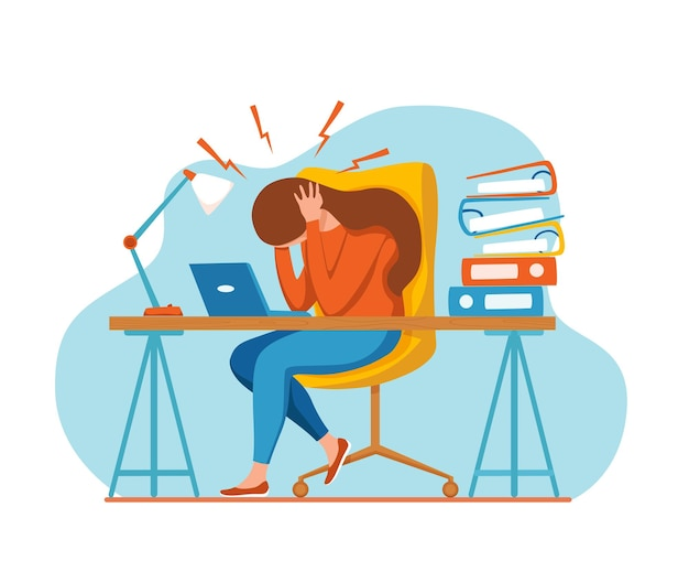 Kobieta z bólem głowy migrena trzymająca głowę ilustracja kreskówka wektor zestresowany nieszczęśliwy upse