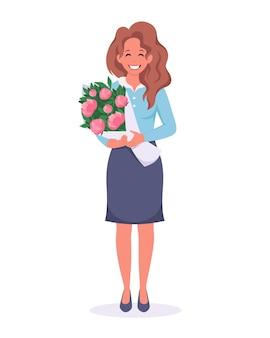 Kobieta z bukietem kwiatów gratulacje z okazji dnia kobiet dzień matki dzień nauczyciela