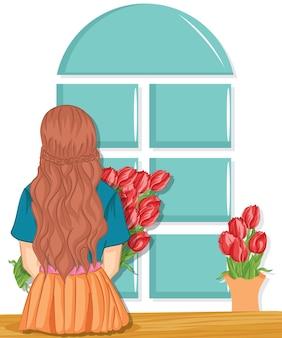 Kobieta z bukietem wiosennych kwiatów. dzień matki. wiosna
