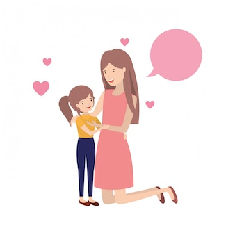 Kobieta z córką i mowy bąbelkowej avatar postacią