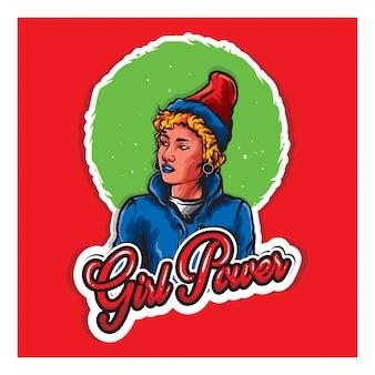 Kobieta z czerwonym kapeluszem i tekstową mocą dziewczyny