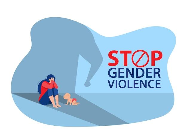 Kobieta z depresją siedzi na podłodze, zatrzymaj przemoc wobec koncepcji kobiet, wektor