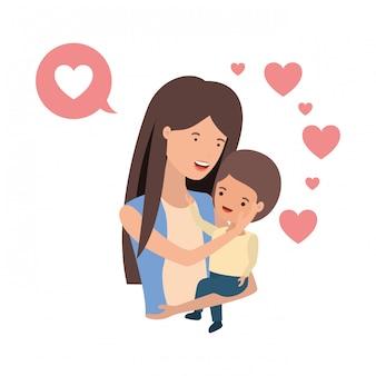 Kobieta z dzieckiem i mowy bąbelkowej postaci awatara