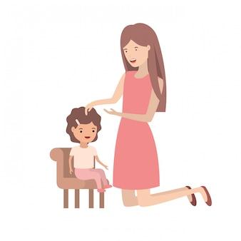 Kobieta z dzieckiem siedzi na krześle avatar charakter