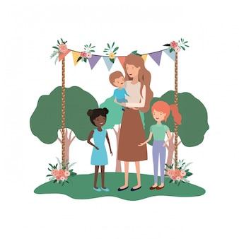 Kobieta z dziećmi w krajobrazie avatar