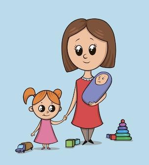 Kobieta z dziewczynką i dzieckiem na placu zabaw wśród zabawek. opiekunka lub mama z małym dzieckiem trzyma dziewczynę za rękę. ilustracja na niebieskim tle. wielkie oczy postaci z kreskówek w stylu.
