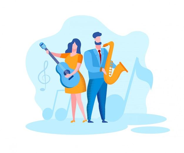 Kobieta z gitarą mężczyzna z saksofonem. muzycy
