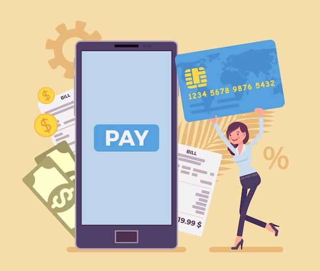 Kobieta z kartą dokonująca cyfrowego rachunku, płatności mobilnej