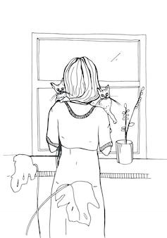 Kobieta z kotami stoi blisko okno. ręcznie rysowane ilustracja na białym tle.