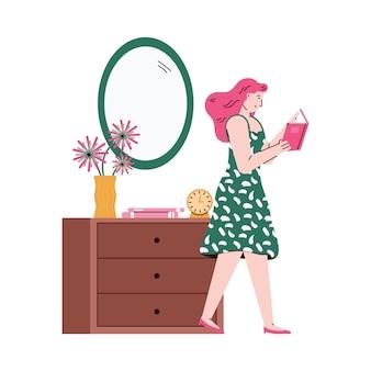 Kobieta z książką w rękach w izbowym wnętrzu, nakreślenie ilustracja