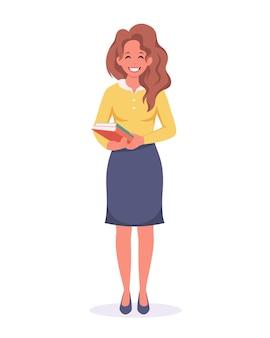 Kobieta z książkami nauczycielka dzień nauczyciela z powrotem do szkoły dzień czytania i pisania