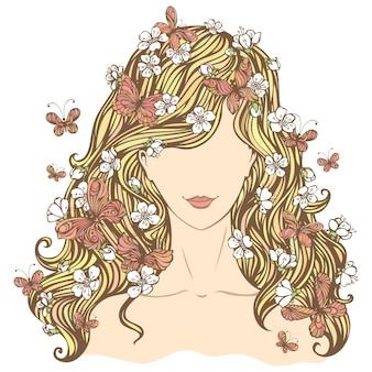 Kobieta z kwiatami i motylami we włosach.