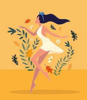 Kobieta z kwiatami relaksuje