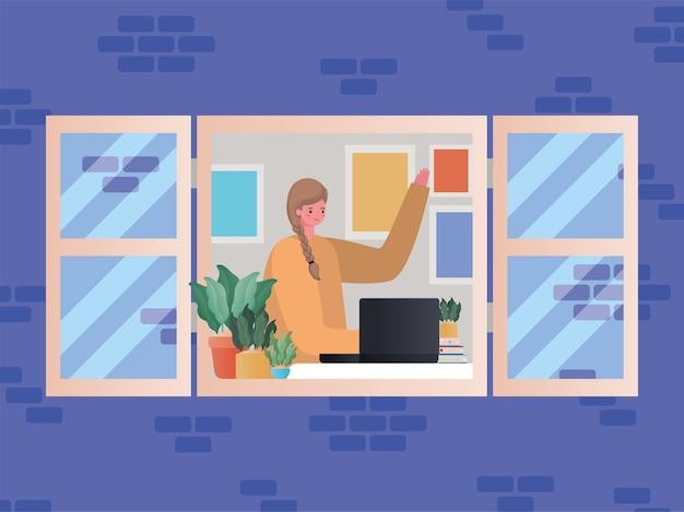 Kobieta z laptopa pracuje przy projektowaniu okna praca z motywu domowego