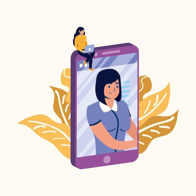 Kobieta Z Laptopem Na Smartphone Projekcie Premium Wektorów